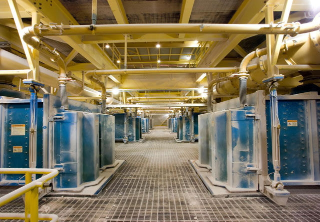 Batería de varios equipos Megatex en planta